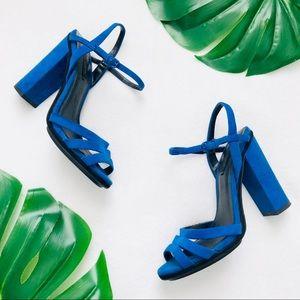 Zara blue & black ankle strap block heels